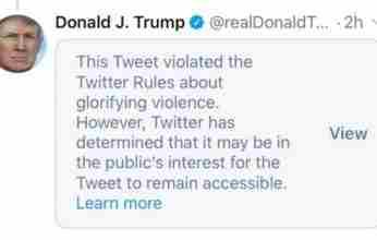 Το Twitter «έκοψε» το tweet του Τραμπ για την Μινεάπολη